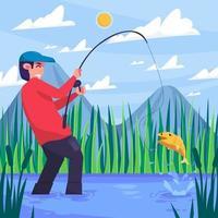 concetto di pesca attività estiva vettore