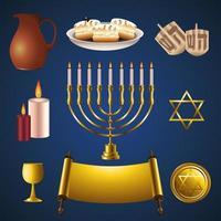 pacchetto di icone di celebrazione felice hanukkah vettore