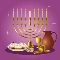 happy hanukkah celebrazione card con candelabro ed elementi dorati vettore