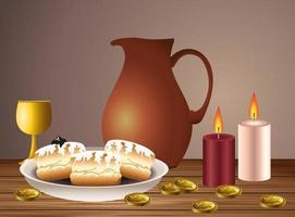 carta di celebrazione felice hanukkah con cibo e candele vettore