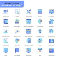 Set semplice Icone Web e Graphic Design Flat per applicazioni Web e mobili