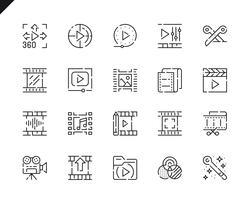 Set semplice di icone di modifica di video editing per applicazioni Web e mobili. vettore