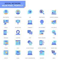Set semplice Social Media e icone piatte di rete per applicazioni Web e mobili