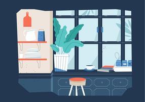 Siluetta di vista della finestra della cucina nell'illustrazione piana di vettore di inverno