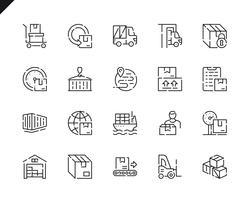 Set di icone di linea di consegna pacchetto semplice per applicazioni Web e mobili.