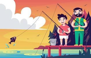 padre e figlio si godono una giornata di pesca estiva vettore