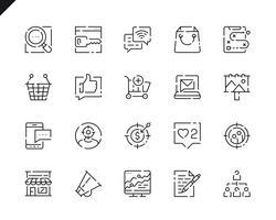Set semplice di icone di linea di marketing per applicazioni Web e mobili. vettore