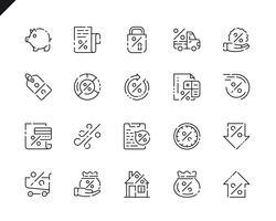 Semplice set di icone di linea di prestito per applicazioni web e mobile. vettore