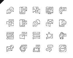 Semplice Set di icone per linee di messaggi per applicazioni Web e mobili. vettore