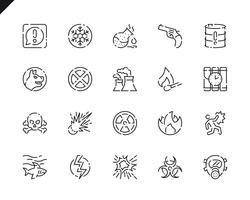 Icone semplici set di avvertimenti per applicazioni Web e mobili. vettore