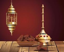 celebrazione del ramadan kareem con calice d'oro e cibo vettore