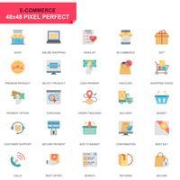 Set semplice di e-commerce e shopping icone piatte per applicazioni web e mobili vettore