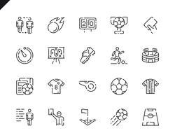 Semplice Set di icone di linea di calcio per applicazioni Web e mobili.