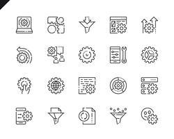 Set di icone di linee di elaborazione dati semplici per applicazioni Web e mobili.