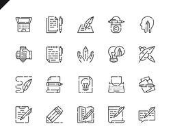Set semplice di icone di linea di copywriting per applicazioni web e mobili.