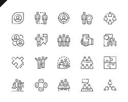 Set semplice Icone linea di lavoro di squadra per applicazioni web e mobili.