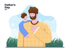 cartone animato di saluto felice festa del papà. padre e figlio che si abbracciano calorosamente e amorevolmente. adatto per biglietti di auguri banner poster invito cartolina ecc vettore
