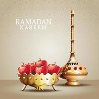 celebrazione del ramadan kareem con calice d'oro e mele vettore