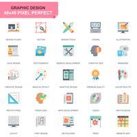 Strumenti di design semplice Set di icone piatte per applicazioni Web e mobili