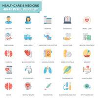 Set semplice Sanità e icone piatte mediche
