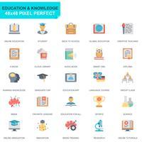 Set semplice icone piatte di educazione e conoscenza