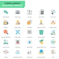 Set semplice icone del settore energetico ed energia piatta vettore