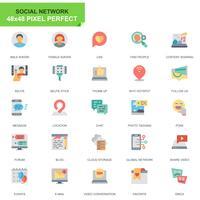 Set semplice Social Media e icone piatte di rete
