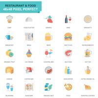 Set semplice ristorante e cibo icone piatte vettore