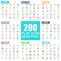 Flat Icon Icon Pack vettore