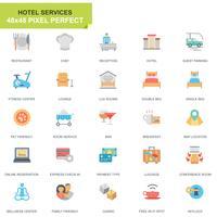 Icone piane dei servizi dell'hotel stabiliti semplici