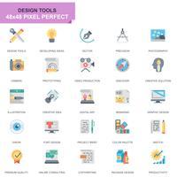 Icone piane degli strumenti semplici di progettazione dell'insieme