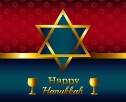 felice celebrazione di hanukkah scritte con stella d'oro vettore
