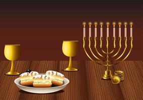 felice celebrazione di hanukkah con lampadario e ciambelle in un tavolo di legno vettore
