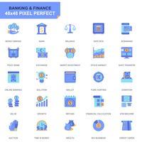 Icone piane semplici stabilite di attività bancarie e finanziarie