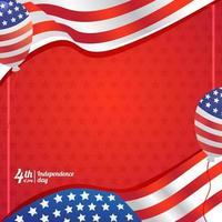sfondo di palloncino e bandiera del giorno dell'indipendenza dell'america vettore