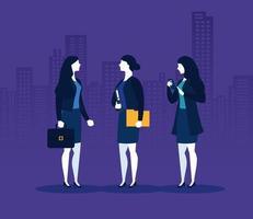 donne d'affari con valigia, file e smartphone davanti al disegno vettoriale degli edifici della città