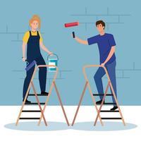 cartoni animati di donna e uomo che dipingono con disegno vettoriale di rotolo, secchio e scala