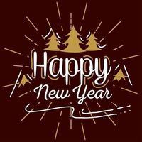 felice anno nuovo con pini e montagne disegno vettoriale