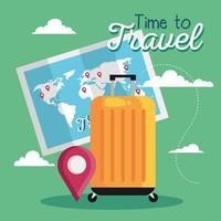 tempo per viaggiare, borsa, mappa e disegno vettoriale del marchio gps
