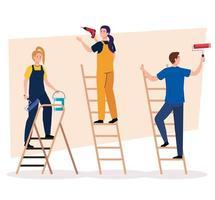 uomo e donna con trapano da costruzione, rullo di vernice e secchio su disegno vettoriale di scale