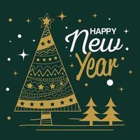 felice anno nuovo con disegno vettoriale di alberi di pino