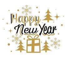 felice anno nuovo con disegno vettoriale regalo e alberi di pino