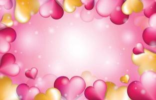 modello di sfondo cuore oro e rosa vettore