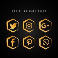 Set di icone di media sociali dorato astratto vettore