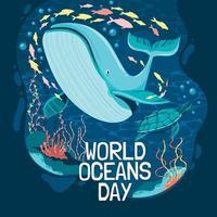 concetto di poster per la giornata mondiale degli oceani vettore