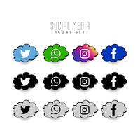Icone comiche di media sociali astratte messe vettore