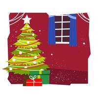 Illustrazione di vettore dell'albero di Natale di metà del secolo