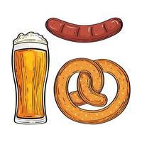 bicchiere di birra con pretzel e salsiccia vettore
