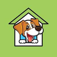 cartone animato simpatico cane con la testa e la lingua fuori stare dentro la mascotte della casa sul tetto verde green vettore