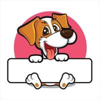 cartone animato cane carino con la lingua fuori che tiene grande cartello bianco vuoto su sfondo cerchio rosa vettore
